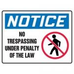 "Accuform MATR862XF10, OSHA Notice Safety Sign ""No Trespassing…"""