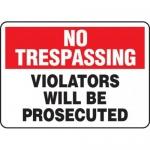 "Accuform MATR901XV10, No Trespassing Safety Sign ""Violators Will…"""