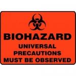"Accuform MBHZ508XT10, Biohazard Safety Sign ""Universal Precautions…"""