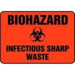 "Accuform MBHZ514XP10, Biohazard Safety Sign ""Infectious Sharp Waste"""