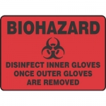 """Accuform MBHZ540XP10, Safety Sign """"Disinfect Inner Gloves…"""""""