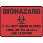 "Accuform MBHZ554XP10, Biohazard Safety Sign ""Disinfect Inner…"""
