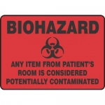 "Accuform MBHZ559XT, Biohazard Safety Sign ""Any Item From Patient's…"""