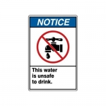 """Accuform MCAW811XF10, Safety Sign """"This Water Is Unsafe to Drink"""""""