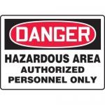 "Accuform MCHG028XT10, OSHA Danger Safety Sign ""Hazardous Area…"""