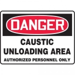 "Accuform MCHG088XT10, OSHA Safety Sign ""Caustic Unloading Area…"""