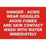 """Accuform MCHG201XT10, Safety Sign """"Danger – Acids – Wear Goggles…"""""""