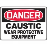"""Accuform MCHL026XV10, OSHA Danger Safety Sign """"Caustic – Wear…"""""""