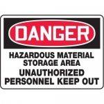 "Accuform MCHL129VP10, OSHA Danger Safety Sign ""Hazardous Material…"""