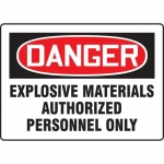 "Accuform MCHL262XT10, OSHA Danger Safety Sign ""Explosive Materials…"""