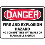 """Accuform MCHL278XF10, OSHA Safety Sign """"Fire and Explosion Hazard…"""""""