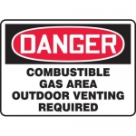 """Accuform MCHL289XF10, OSHA Danger Safety Sign """"Combustible Gas…"""""""