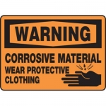 """Accuform MCHL312XF10, OSHA Warning Safety Sign """"Corrosive Material…"""""""