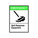 """Accuform MCHL524XT10, Sign """"Emergency – Spill Response Equipment"""""""