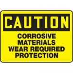 "Accuform MCHL610XF10, Caution Safety Sign ""Corrosive Materials…"""