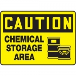 "Accuform MCHL615VP10, OSHA Caution Safety Sign ""Chemical Storage Area"""
