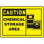 "Accuform MCHL642VP10, OSHA Caution Safety Sign ""Chemical Storage Area"""