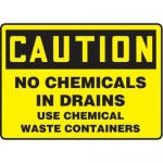 """Accuform MCHL691XT10, Caution Safety Sign """"No Chemicals In Drains…"""""""
