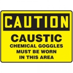 """Accuform MCHL703XF10, OSHA Safety Sign """"Caustic – Chemical Goggles…"""""""