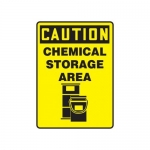 "Accuform MCHL712VP10, OSHA Caution Safety Sign ""Chemical Storage Area"""