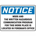 "Accuform MCHL812XT10, OSHA Safety Sign ""MSDS And The Written…"""