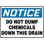 """Accuform MCHL828XT10, Notice Safety Sign """"Do Not Dump Chemicals…"""""""