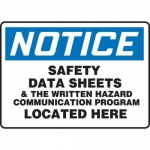"Accuform MCHM804XP10, OSHA Notice Safety Sign ""Safety Data Sheets…"""