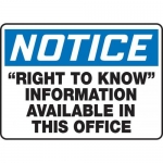 """Accuform MCHM825VS10, OSHA Notice Safety Sign """"Right To Know"""" Vinyl"""