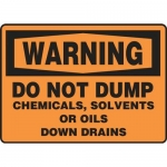 "Accuform MCHW300XT10, Warning Safety Sign ""Do Not Dump Chemicals…"""