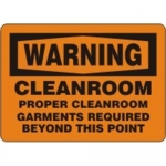 """Accuform MCLR506XF10, OSHA Warning Safety Sign """"Cleanroom – Proper…"""""""
