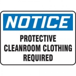 """Accuform MCLR803XF10, Notice Safety Sign """"Protective Cleanroom…"""""""
