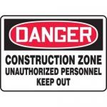 "Accuform MCRT027XT, OSHA Danger Safety Sign ""Construction Zone…"""