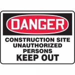 """Accuform MCRT124XF10, OSHA Danger Safety Sign """"Construction Site…"""""""