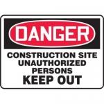 "Accuform MCRT124XL10, OSHA Danger Safety Sign ""Construction Site…"""
