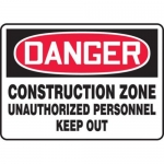 "Accuform MCRT126XF10, OSHA Danger Safety Sign ""Construction Zone…"""