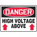 "Accuform MELC011VP10, 10″ x 14″ OSHA Safety Sign ""High Voltage Above"""