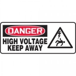 "Accuform MELC014VP10, 7″ x 17″ Safety Sign ""High Voltage – Keep Away"""