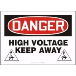 "Accuform MELC098VP10, 10″ x 14″ Safety Sign ""High Voltage – Keep Away"""