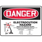"Accuform MELC109XT10, 10″ x 14″ Safety Sign ""Electrocution Hazard …"""