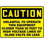"Accuform MELC164VP10, 10″ x 14″ Safety Sign ""Unlawful to Operate …"""