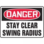 """Accuform MEQM026XV10, 7″ x 10″ Safety Sign """"Stay Clear Swing Radius"""""""