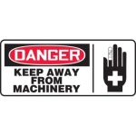 """Accuform MEQM027XV10, 7″ x 17″ Safety Sign """"Keep Away From Machinery"""""""