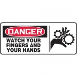 """Accuform MEQM029XV10, 7″ x 17″ Safety Sign """"Watch Your Fingers …"""""""