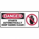 """Accuform MEQM053XV10, 7″ x 17″ Safety Sign """"Starts Automatically …"""""""