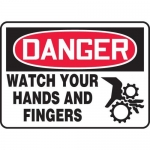 """Accuform MEQM092XV10, 7″ x 10″ Safety Sign """"Watch Your Hands …"""""""