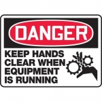 """Accuform MEQM136XV10, 10″ x 14″ Safety Sign """"Keep Hands Clear …"""""""