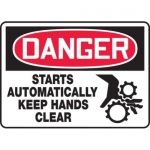 """Accuform MEQM173XV10, 10″ x 14″ Safety Sign """"Starts Automatically …"""""""