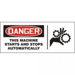 """Accuform MEQM196XV10, 7″ x 17″ Safety Sign """"This Machine Starts …"""""""