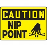 """Accuform MEQM642VS10, 10″ x 14″ Caution Safety Sign """"Nip Point"""""""