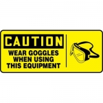 """Accuform MEQM744XF10, 7″ x 17″ Safety Sign """"Wear Goggles When …"""""""